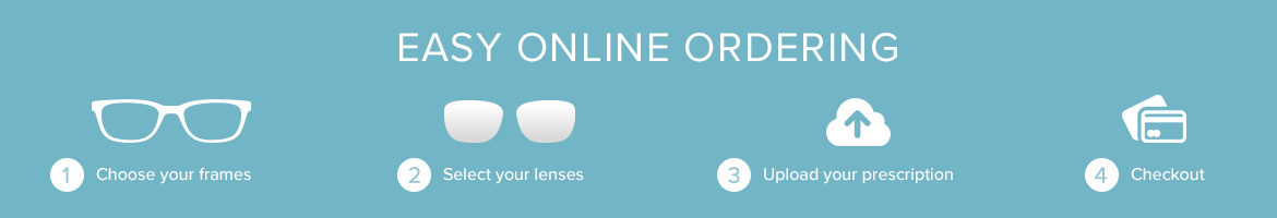 Easy online ordering: 1. Choose your frames, 2. Select your lenses, 3. Upload your prescription, 4. Checkout