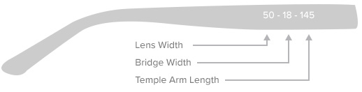 The arm of a pair of glasses detailing the location of the lens width, bridge width and temple arm length